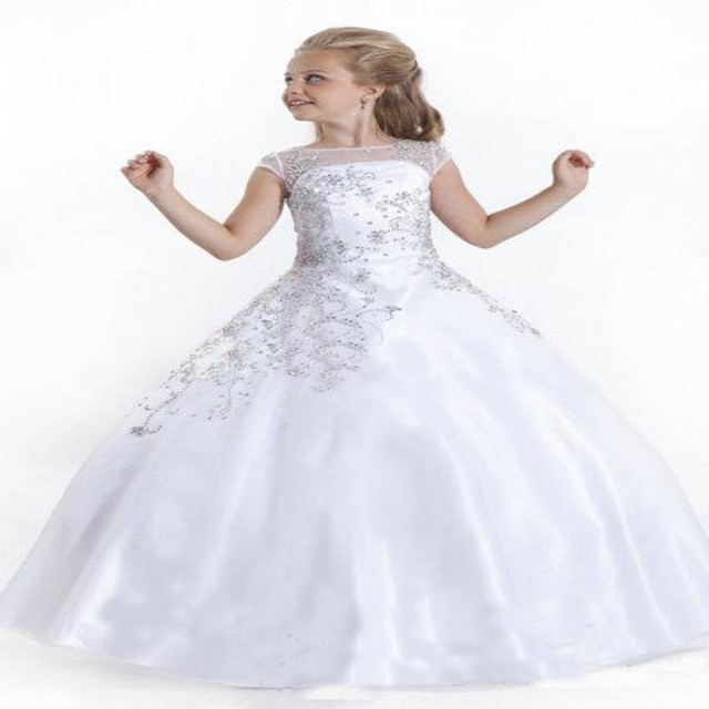 White Crystal Flower Girl Dresses Gowns Little Girls Pageant Dress ...