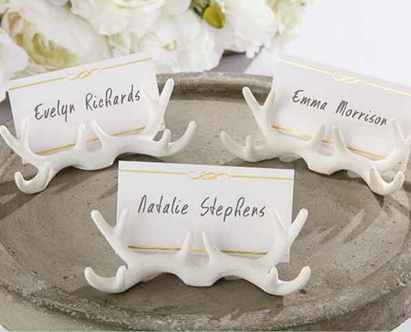 20pcs White Buckhorn Name Number Table Place Card Holder For Wedding Party Anniversary Venue Decoration Home & Garden