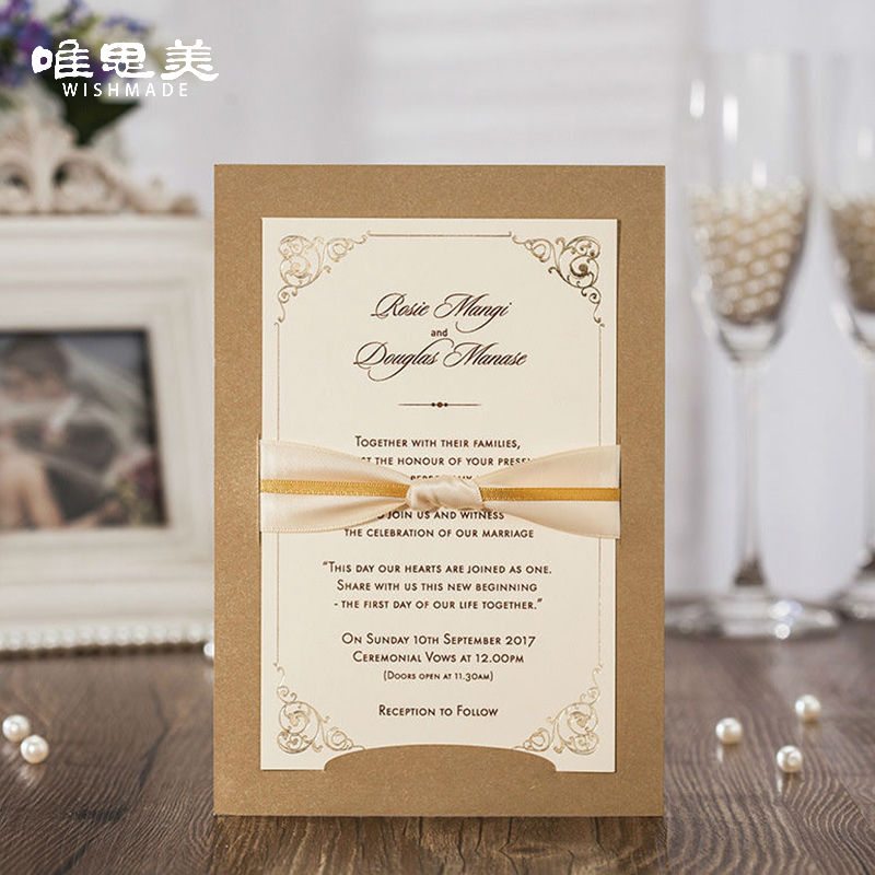 Wishmade 12pcs/lot Ribbon Bowknot Wedding Invitations Elegant ...