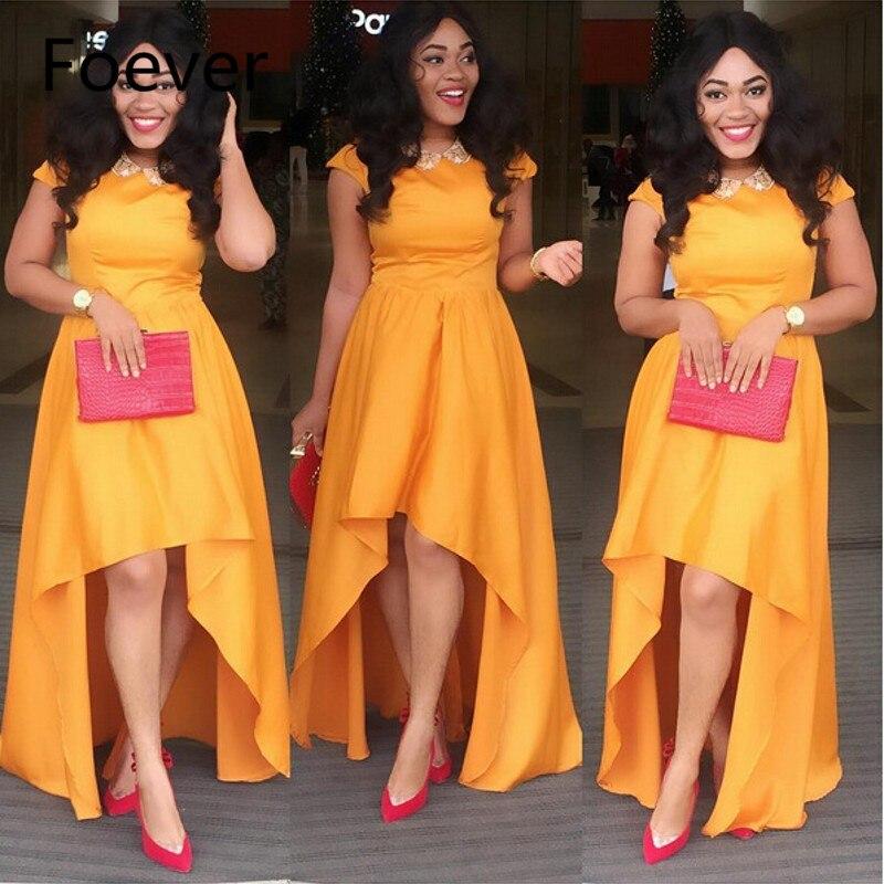 Nigéria longue robe de soirée haut bas à manches courtes Orange robes de soirée africaines 2019 pas cher élégant femmes robe de soirée sur mesure