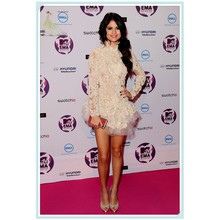 Real Made Selena Gomez Cheap Red Carpet Dresses Sexy Backless Full Sleeve Applique Cocktail/Party/Celebrity Dresses/Dress 2016