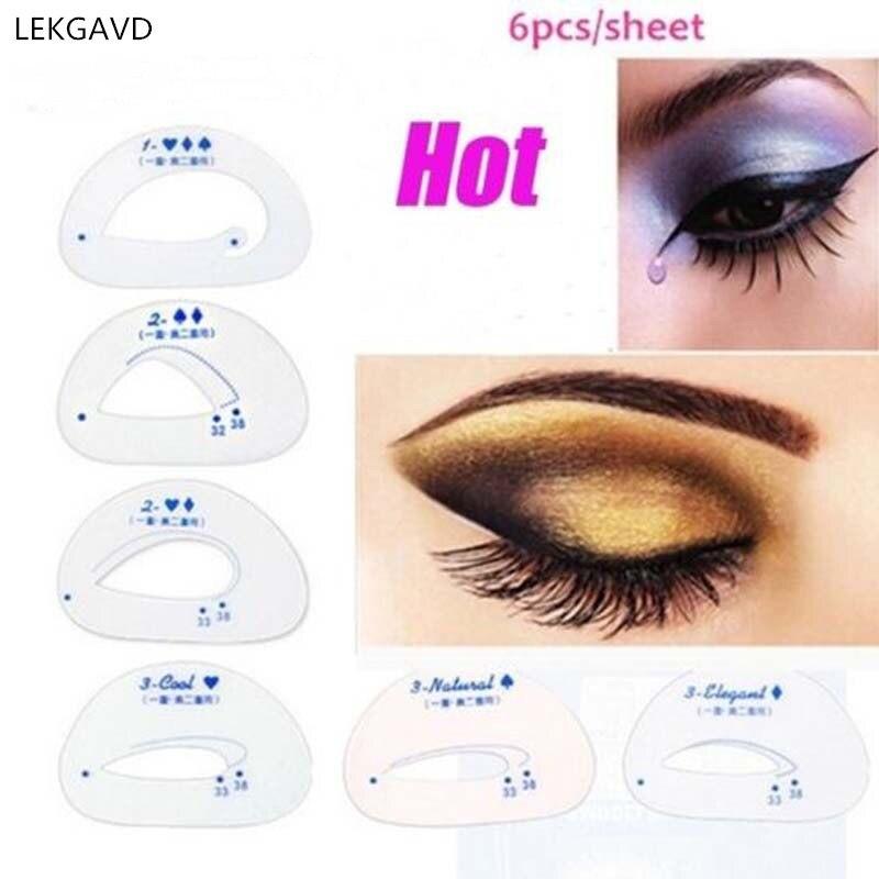 Modelos de Stencils Sombra Da Sombra de olho Sombra Ferramentas Auxiliares de Rastreamento Ferramentas Cartão de Tirar A Maquiagem Dos Olhos Shadow 6 pçs/set
