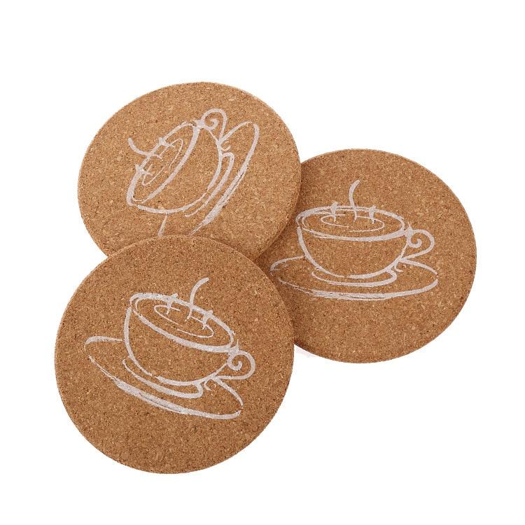 5PCS Retro Creative Kitchen Table Home Decor Cork Wood Drink Coaster Tea  Coffee Cup Mug Mat ...