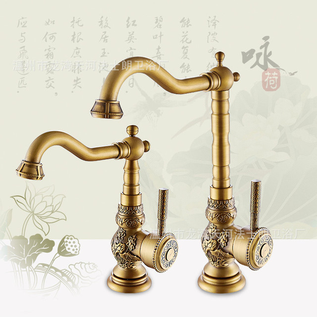 Free Shipping Deck Mounted Brass Kitchen Faucet With High Quality Carving Antique  Kitchen Sink Faucet Of