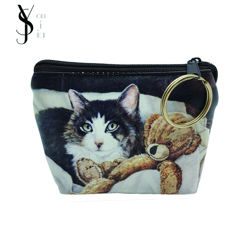 2017 New Cat Animals Women's Purse Ladies Day Clutches Coin Purses Vintage Women Storage Bags Purse for Coins Women Wallet Pouch 2017 hot sale women s purse ladies day clutches coin purses women bags purse for coins mini clutch women wallet zipper bag py101