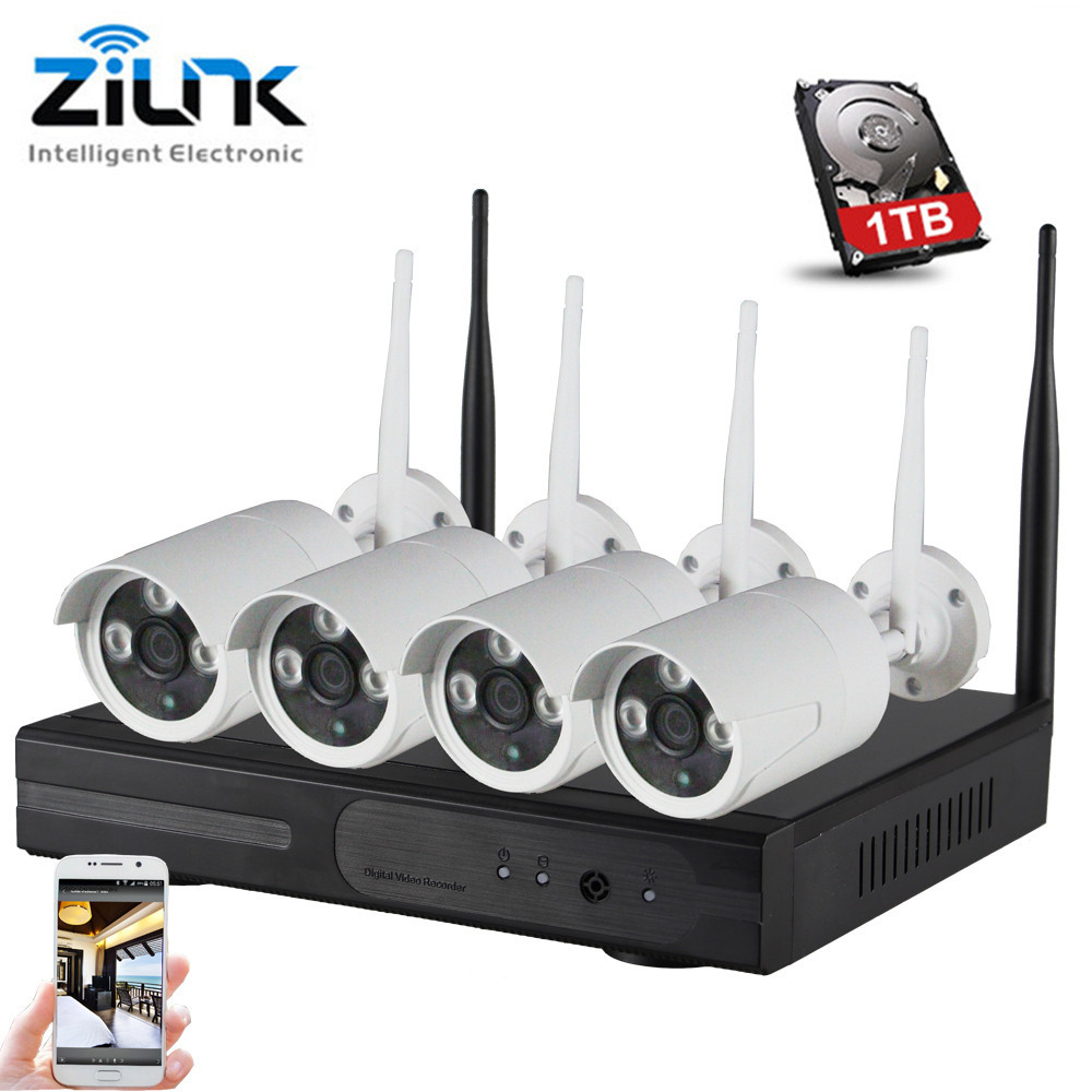 ZILNK 960P HD Wireless System Network IP Camera Outdoor 4CH 1.3MP WIFI NVR CCTV Home Security Surveillance Systems 1TB
