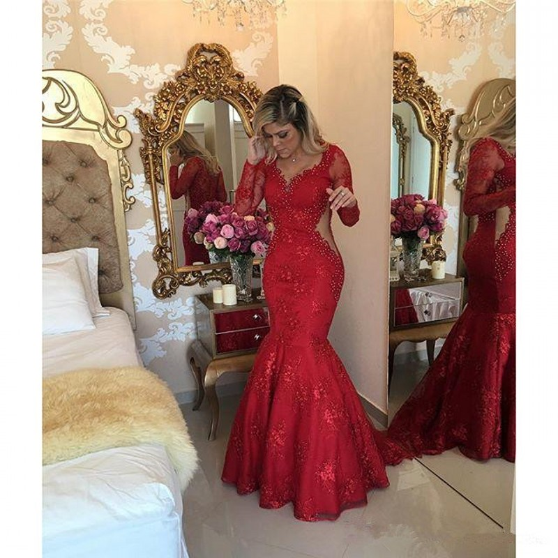 Red 2018 Prom Dresses Mermaid V-neck Long Sleeves Pearls Lace Sexy Party Maxys Long Prom Gown Evening Dresses Robe De Soiree