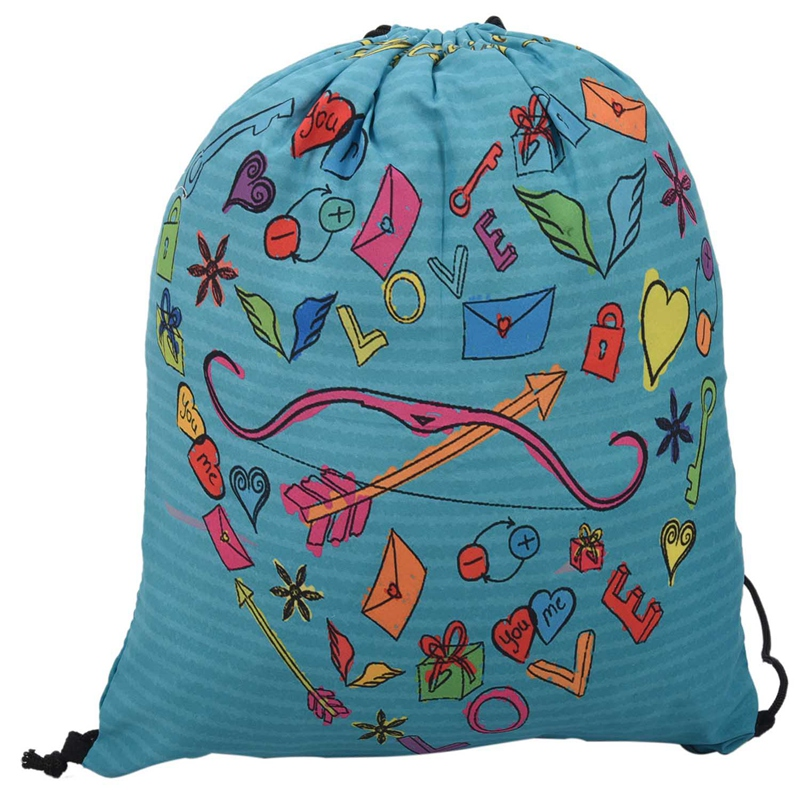 Valentine's Day Digital Print Bundle Backpack Bag With Rope Backpack With English