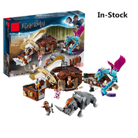 In stock Harry Movie Potter Legoing Newt`s Case of Magical Creatrues Set model Building Blocks bricks Kids Toys for Christmas