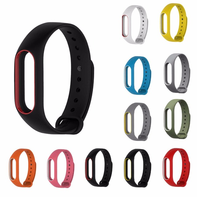Double Color My Band 2 Accessories Replacement Silicone Wristband for Xiaomi Mi2