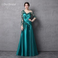 Long Sleeve Satin Mother Of The Bride Dresses Pleated Lace Appliqued Beaded High Quality Wedding Guest