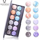 Miss Rose Eyeshadow Makeup Palettes Baked Powder Opaque Bright Eyeshadow Long-lasting Easy to Wear Make up Palettes 12 colors