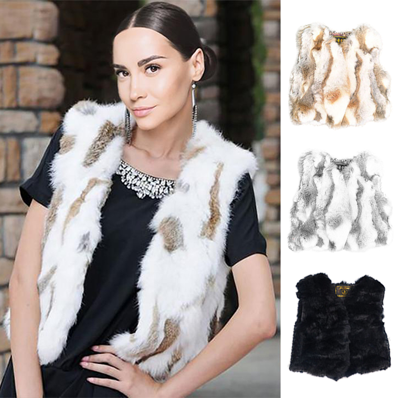 Ethel Anderson Real Rabbit Fur Gilet Cute Short Vest Waistcoats V-Neck Design