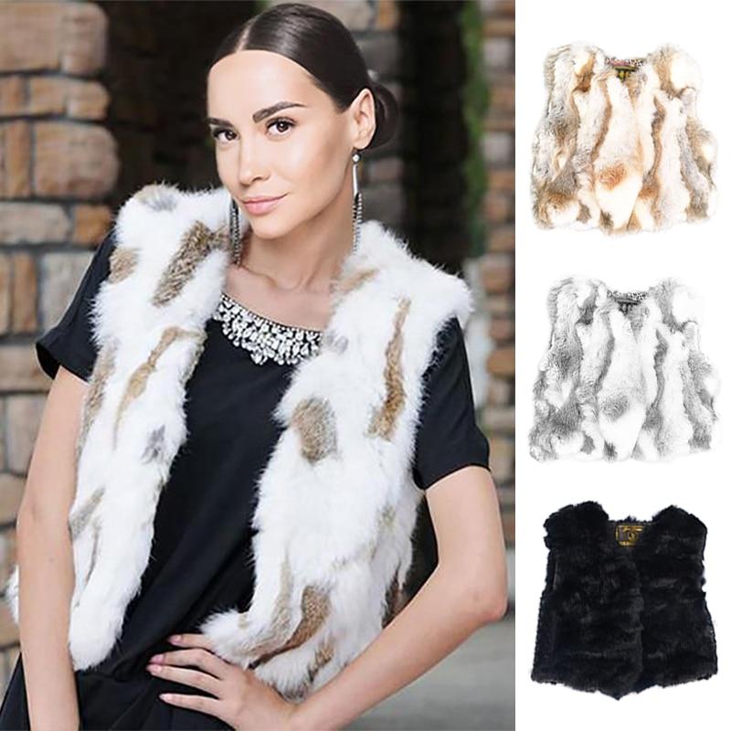Ethel Anderson Real Rabbit Fur Gilet Cute Short Vest Waistcoats V-Neck Design