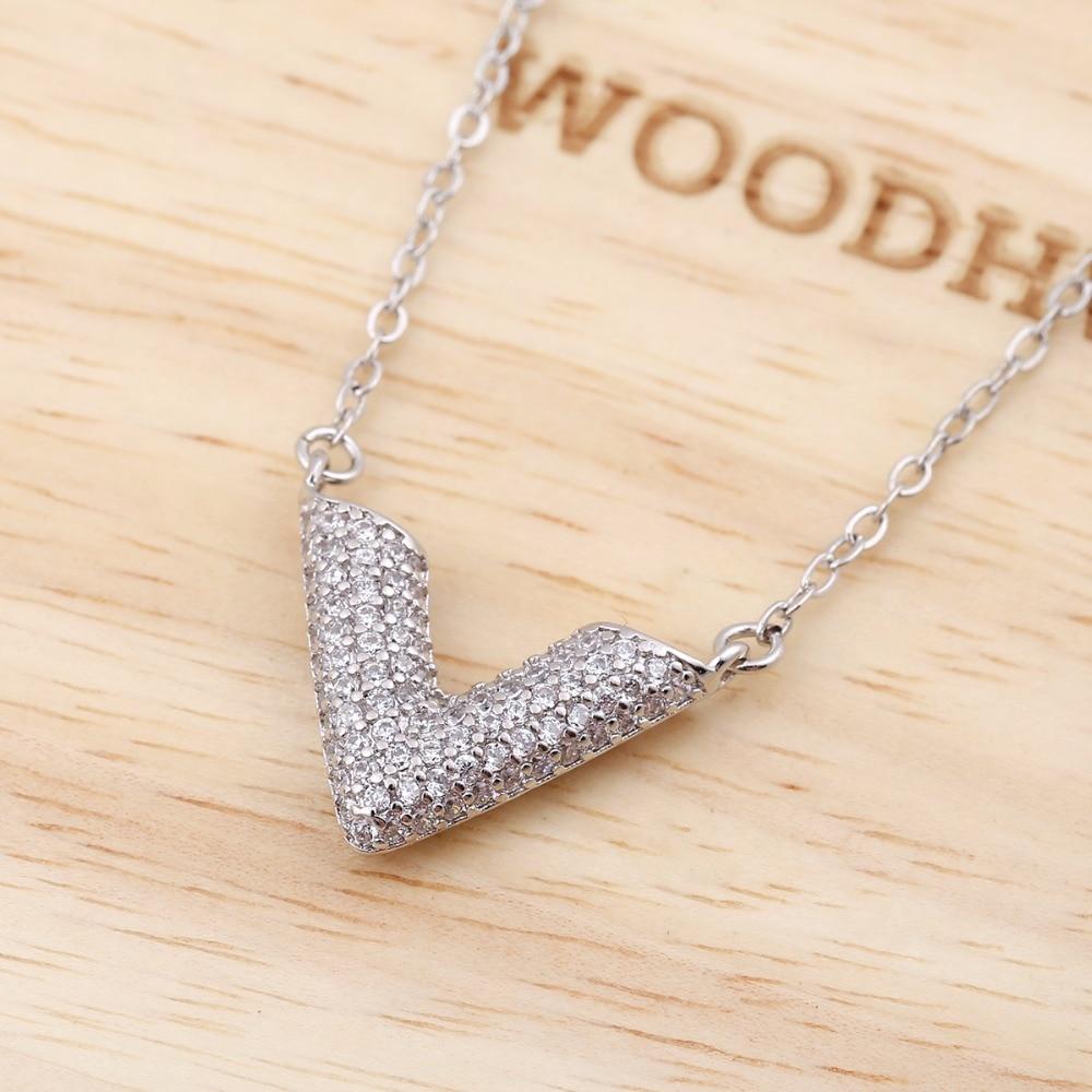 Jisensp Dainty Minimal Crystal Chevron Necklace Women Long Chain V Necklace collares grandes de moda 2017 SYXL068