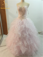 Juliana Luxury Sexy Light Pink Quinceanera Dresses 2018 Ball Gown with Ruffled Beaded Crystals Prom Sweet 16 Dresses QA917