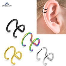 2Pcs/Lot Fake Ear Piercing Gold Black Silver Stainless Steel Clip
