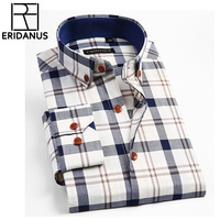 2018 New Brand Men Shirts Social Long Sleeve Plaid Mens Fashion Brushed Flannel Casual Slim Fit Shirt Formal Dress Shirts M638