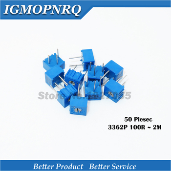 50pcs 3362P 101 201 102 104 202 502 103 203 503 104 204 504 105 Trimpo Trimmer Potentiometer 3362 500R 1K 2K 5K 10K 20K 50K 100K 50pcs trimmer potentiometer rm 065 1kohm 102 1k trimmer resistors variable adjustable resistors