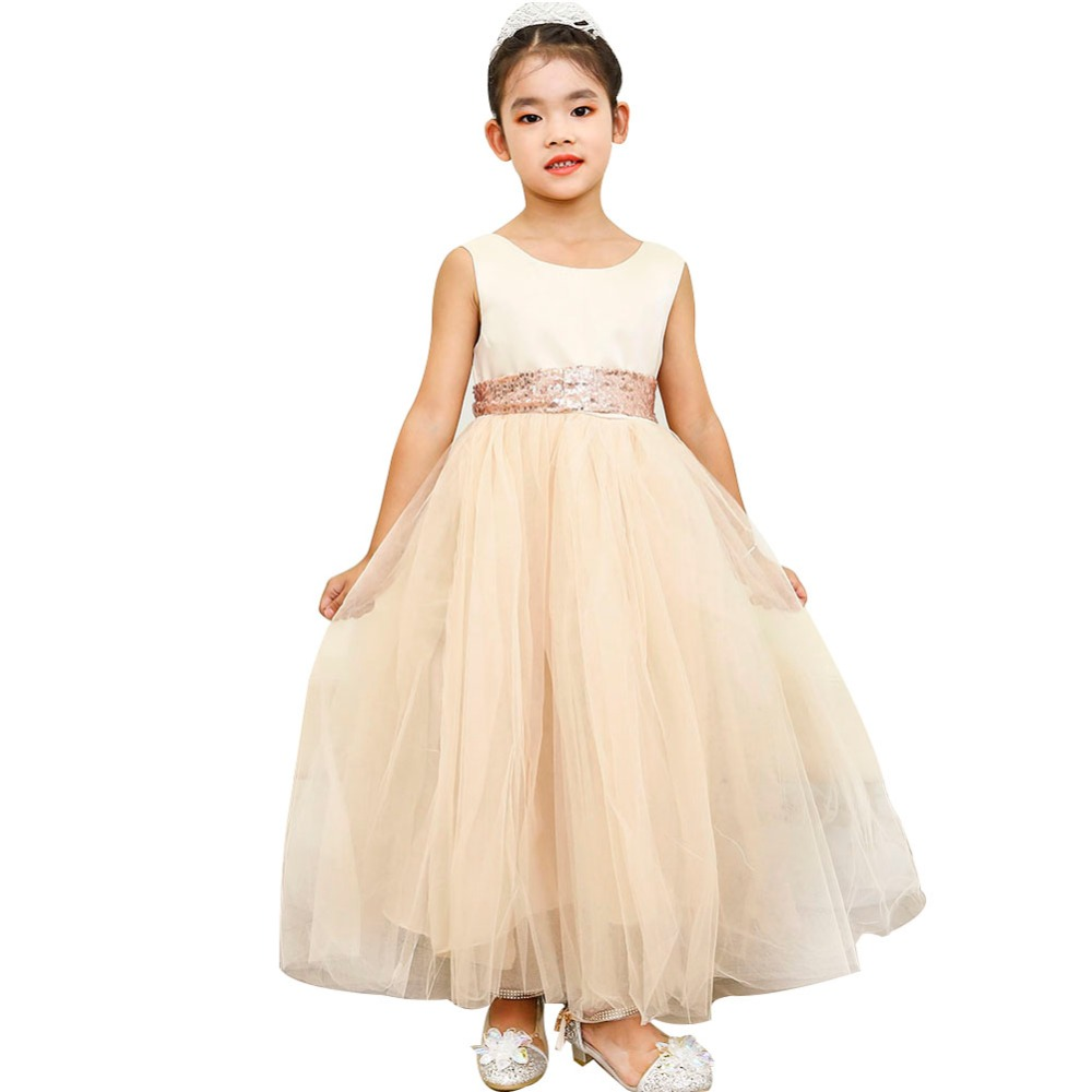 Champagne Flower Girl Dress Tutu Ball Gown Girl Wedding Birthday Ankle Length Party Dress for Baby Girl Clothes Photo Shoot Sets