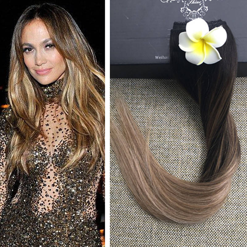Full Shine Ombre Balayage Clip Extensions One Piece 50g Brazilian Remy Hair Clip in Human Hair Extensions Balayage Hair #2#6#18