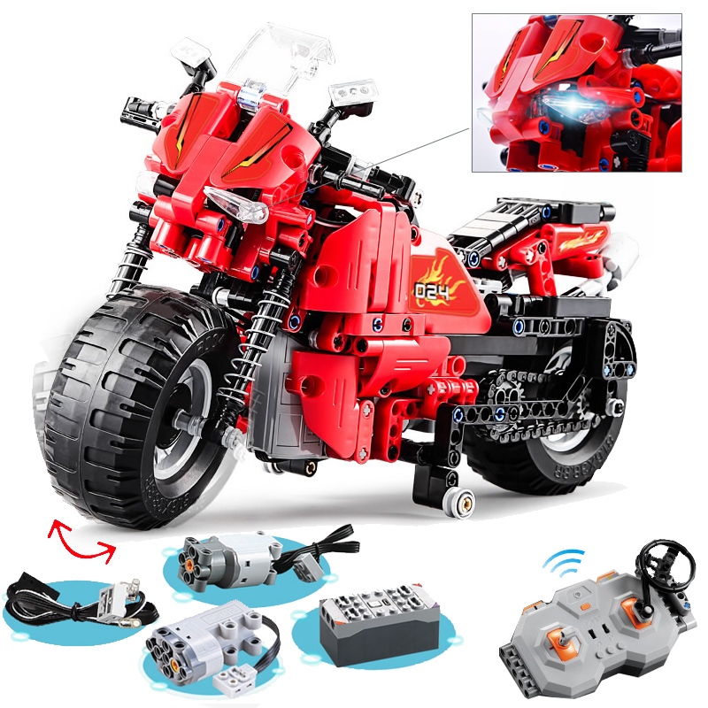 RC Racing Motorcycle Vehicle motor box led 484pcs Building Blocks Car Technic Bricks Toys For Children Compatible with LegoingRC Racing Motorcycle Vehicle motor box led 484pcs Building Blocks Car Technic Bricks Toys For Children Compatible with Legoing