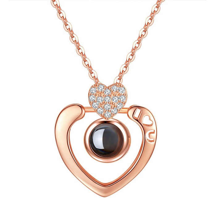 Livraison directe or Rose & argent 100 langues je t'aime Projection pendentif collier lettre amour mémoire collier de mariage