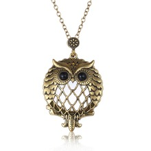 Floating locket Magnifying Glass Antique Gold Cute Animal Owl Design Pendant Hollow Pendant Necklace For Women