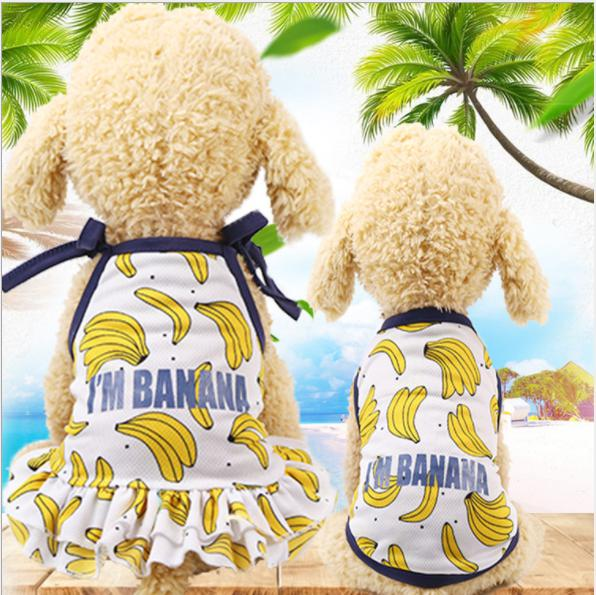 Hearty Korean Style Dog Dress Summer Banana Dress Couple Dogs Clothes Pet Cat Holiday Beach Dresses For Pet Shirt Cat Clothing Smoothing Circulation And Stopping Pains Home & Garden