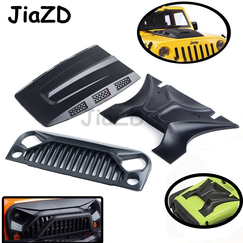 1pcs Black Plastic Engine Cover For 1:10 RC Crawler Axial SCX10 90046 RC4WD D90 Jeep Wrangler Body Parts Rubicon Body Shell F05