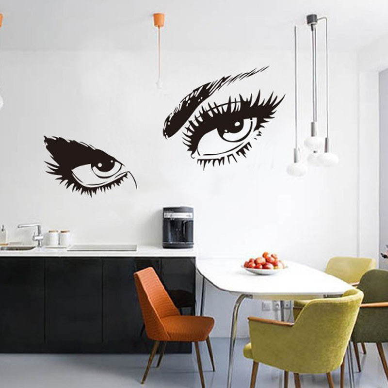 buy 2016 big eyes wall sticker home decal long eyelashes design wall decor. Black Bedroom Furniture Sets. Home Design Ideas