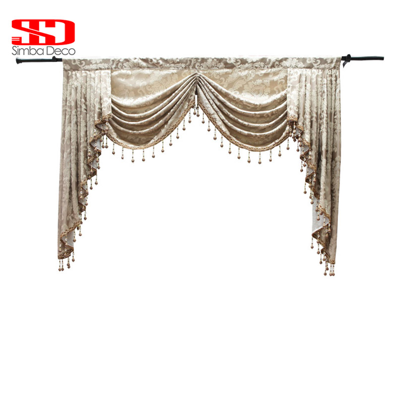 Luxury Valances Swag Curtains for Living Room Jacguard European Style Pellments Dropping Window Treatmants 1 piece Custom Tassel