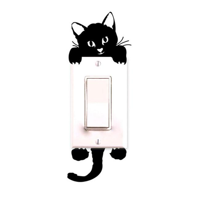 2017 Cute Decoration for Bedroom Cat Decal Wallpaper Switch Stickers Decora Home Decor Kids Room Light Parlor Decor Sticker
