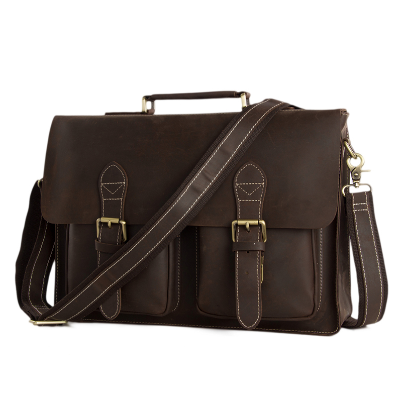 ROCKCOW Men Genuine Crazy Horse Leather Cowhide Dark Brown Business Briefcase  Messenger Bag 14