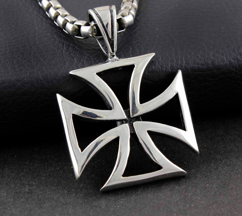 department large sterling pendant cross crossed necklace pin axes maltese fire firefighter with silver