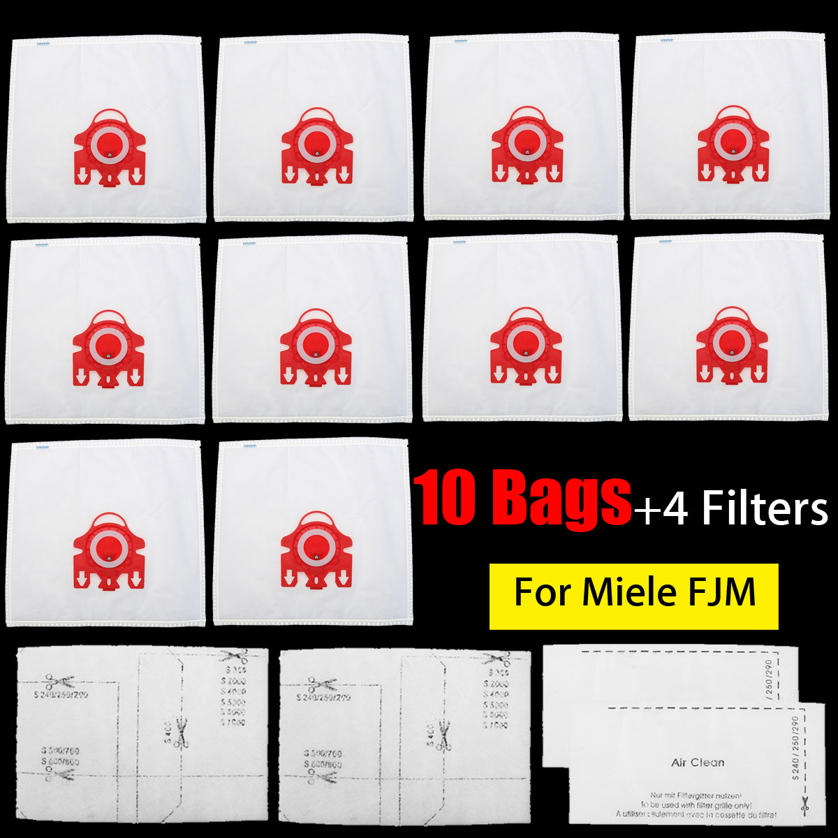 New 10Pcs/Lot fit For Miele FJM Dual Layer Vacuum Cleaner Hoover Dust Bags+4 Filters Vacuum Cleaner Parts