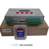 K-1000C (T-1000S güncelleme) denetleyici WS2812B WS2811 APA102 SK6812 2801 LED 2048 piksel Program kontrolörü DC5-24V