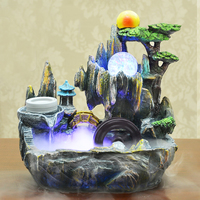 KiWarm Indoor Water Fountains Indoor Table Bench Top Water Feature Fountain Ornament For Home Office Craft Desk Decoration