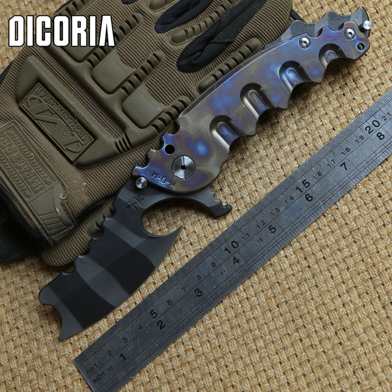 DICORIA Man of war ball bearing Folding Knife VG10 blade TC4 Titanium handle Camping Hunting Outdoor survival Knives EDC Tools vellance a2 folding blade pocket knives m390 vg10 blade titanium handle ball bearing knife tactical camping survival knife tools