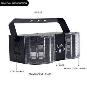 Image 5 - Iluminação da borboleta do laser do dobro espelho 4 hole para a decoração do palco luzes da festa do dj do controlador dmx da luz do disco do laser do diodo emissor de luz de ysh