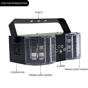 Image 5 - YSH LED Laser Disco Light DMX Controller DJ Party Lights Double Mirror 4 Hole Laser Butterfly lighting for Stage Decoration