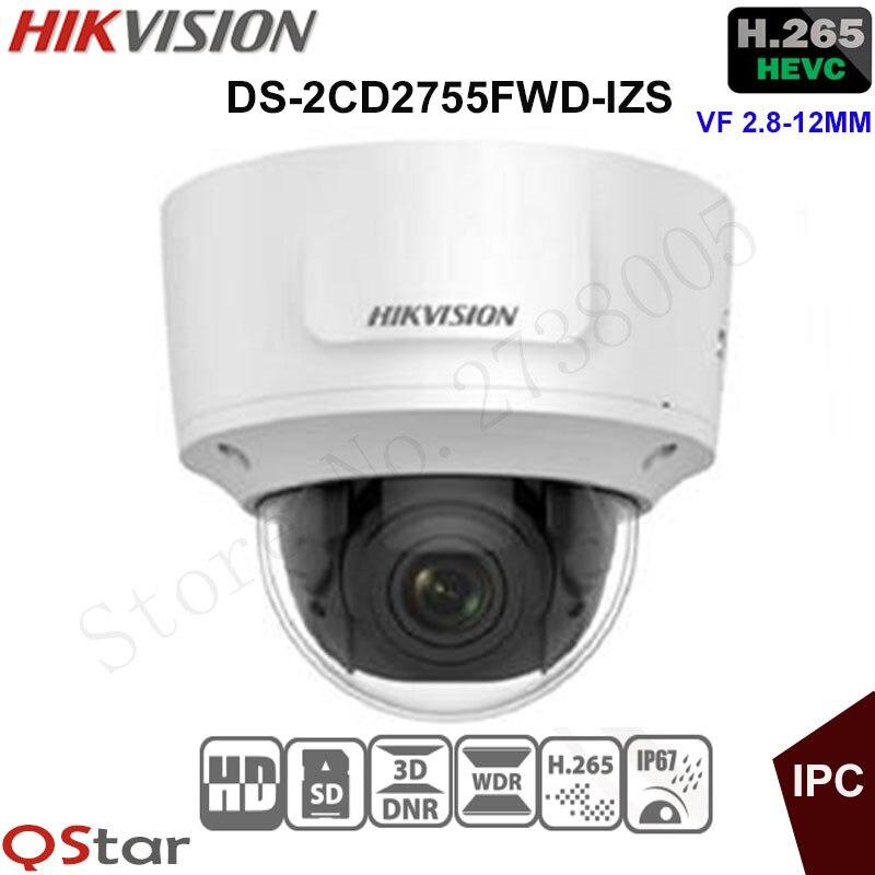Hikvision 5MP WDR Vari-focal Security IP Camera H.265 DS-2CD2755FWD-IZS Dome CCTV Camera 2.8-12mm face detection IP67 IK10 видеокамера ip hikvision ds 2cd2642fwd izs цветная