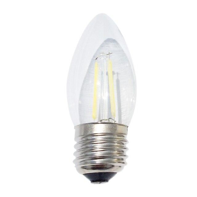 Hot! Energy saving E27 2W 4W COB LED Lamp Filament Glass Housing Blub AC220V Light Retro Candle Pointed-tail  Lighting 10pcs/lot