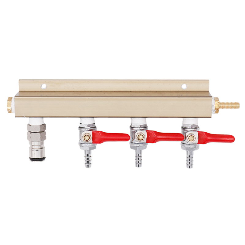 4 way Air Distributor CO2 Splitter Gas Manifold 1/4barb Inlet & Oulet with 1 Ball Lock Outlet Homebrew Kegging 100% No Leakage