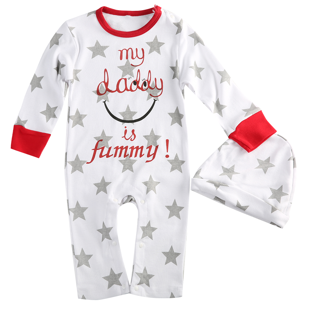 d1721f3b0 US $5.28 20% OFF|Newborn Baby Boy Girl Mum Dad Funny Newborn Infant Romper  Hat Sleepsuit Outfits Set Bebes Clothes0 18M 2017-in Rompers from Mother &  ...