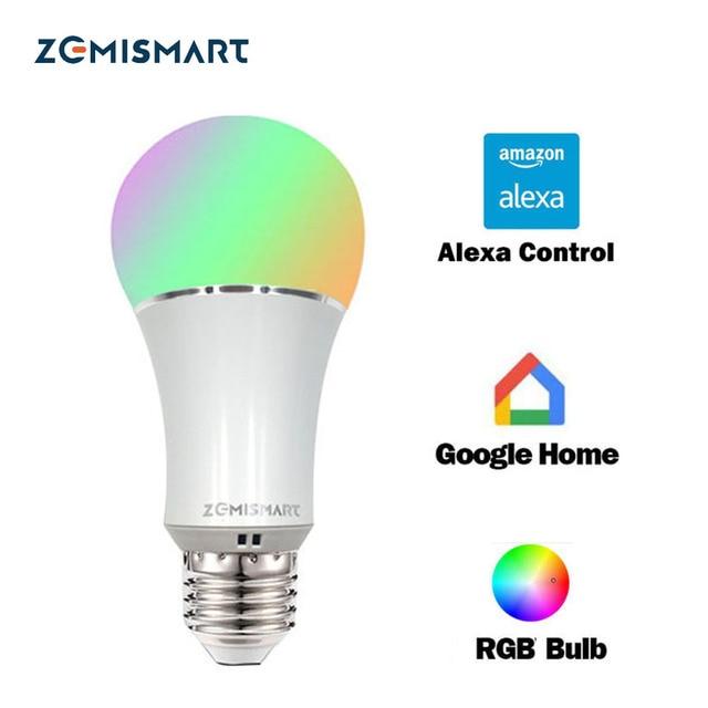 Regulable E27 WiFi RGB Llevó el Bulbo de la Luz de Control de Voz por Alexa Echo Google Home 2.4G Control de APP WfiFi Blanco Color Disponible