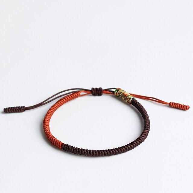 Brown Mutil Golden Tibetan Buddhist Handbraided Knots Lucky Rope Bracelet Monks Blessed One Heart To