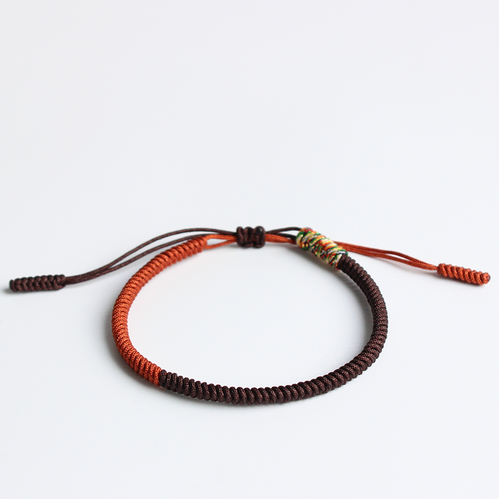 Brown & Mutil Golden Tibetan Buddhist Handbraided Knots Lucky Rope Bracelet Monks Blessed One Heart To The Buddha - Dharma