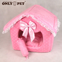 Free Shipping Cute Folding Pink Dot Lace Princess Posh Suede Dog Beds Houses With Candy Pillow