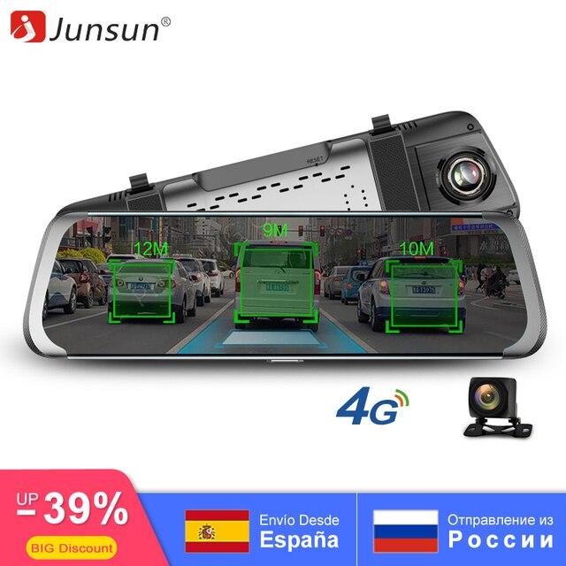 """Junsun 4G ADAS Автомобильный dvr камера 10 """"поток медиа зеркало заднего вида Android 1080 P Wi Fi gps регистраторы регистратор грузовик видео регистраторы"""